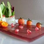 Receta de Gelatina de granadina con bacalao ahumado y espárragos